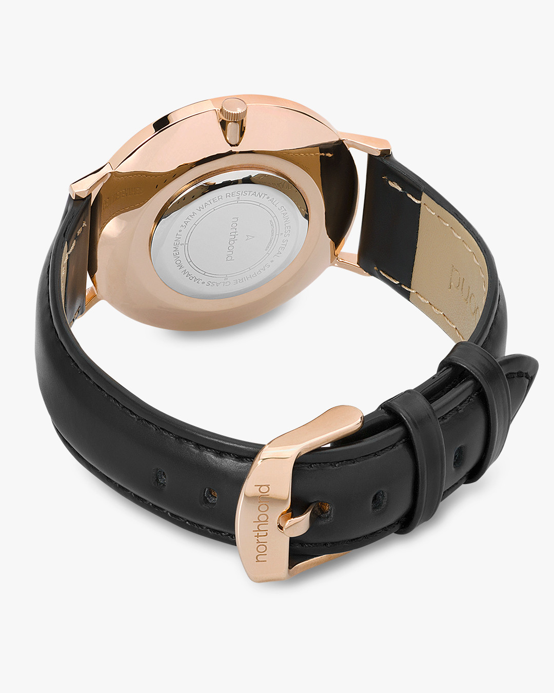 onyx watch rose gold black leather