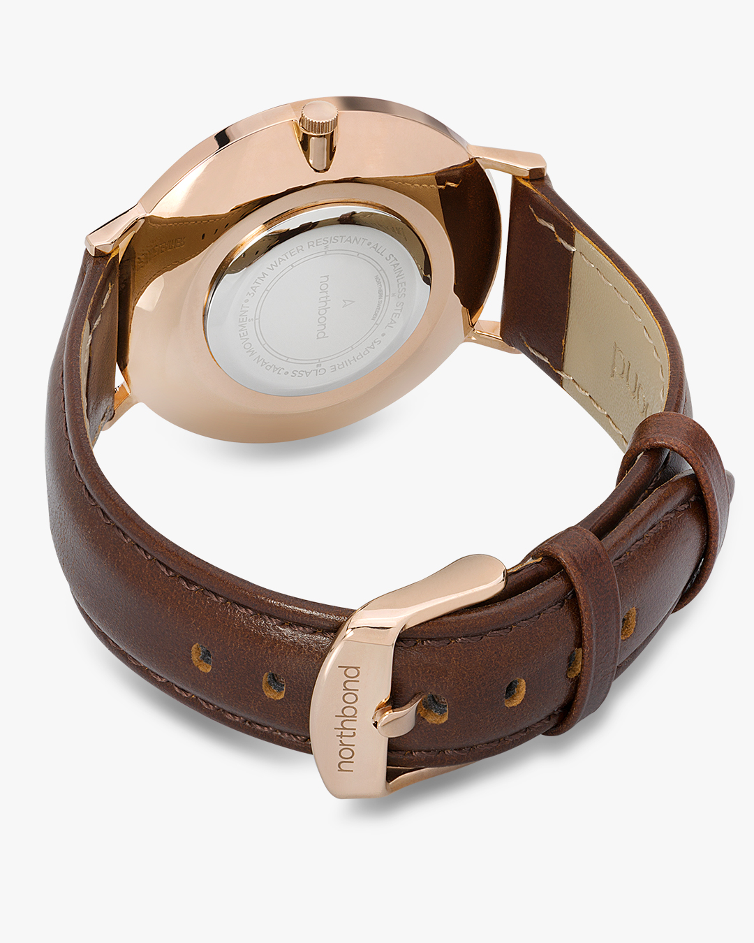 sail watch rose gold brown leather